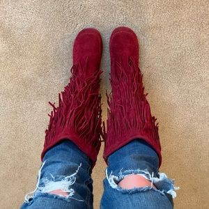 Dark Red Fringe boots